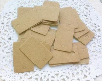 3.5 x 2 cm cardboard kraft label tags wedding christening gifts, vintage labels, name brand square gift tag