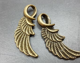 1 pendant - bronze colored metal wing charm pendant - wing 32 x 12 mm