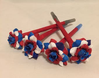 Red White and Blue Mini Rose Flower Pen/ 4th Of July, Military Veteran Gift, Teacher Appreciation