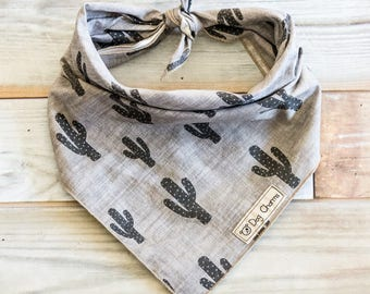 Gray Cactus Dog Bandana, Cactus Dog Bandana, Tie On Bandana