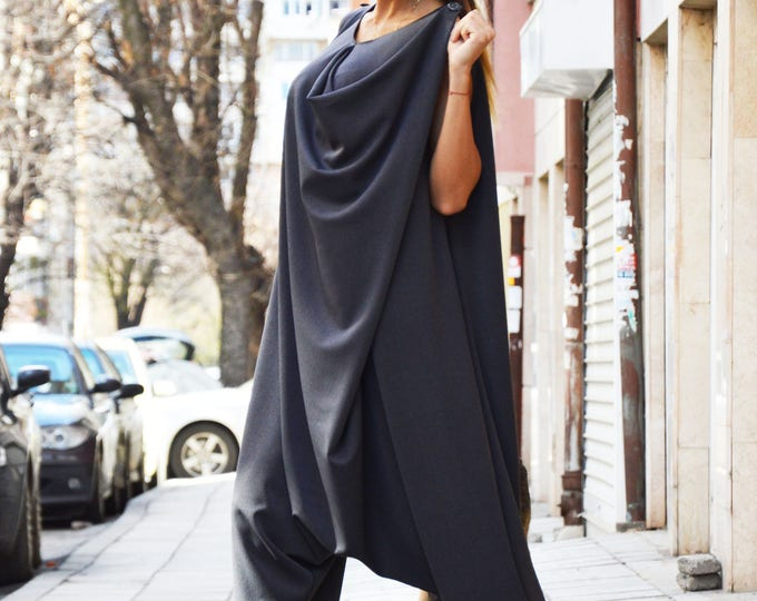 Women's  Dark Gray Drop Crotch Jumpsuit, Wide Leg Maxi Romper, Plus Size Clothing, Loose Jumpsuit With Zipper by SSDfashion