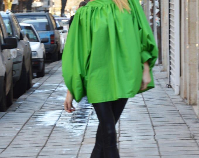 New Asymmetric Loose Shirt, Soft Cotton Oversize Green Shirt, Extravagant Maxi Tunic Top Design by SSDfashion