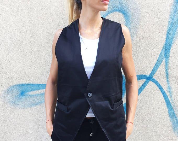 Woman Sleeveless Black Vest, Elegant B Extravagant Trench, Cotton Fashion Vest, Plus Size Vest by SSDfashion