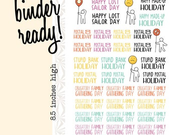Disgruntle-able Holiday Planner Stickers | Postal Holiday Planner Stickers  | Bank Holiday Planner Stickers | Forced Family Day Stickers