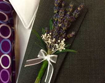 Groom - Lavender Boutonnieres -Stunning