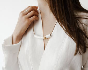 Gold Lustre Handpainted White Ceramic Tube Necklace. Handmade Bead. Adjustable Leather Cord Necklace. Ceramic Jewelry. Handformed Clay.