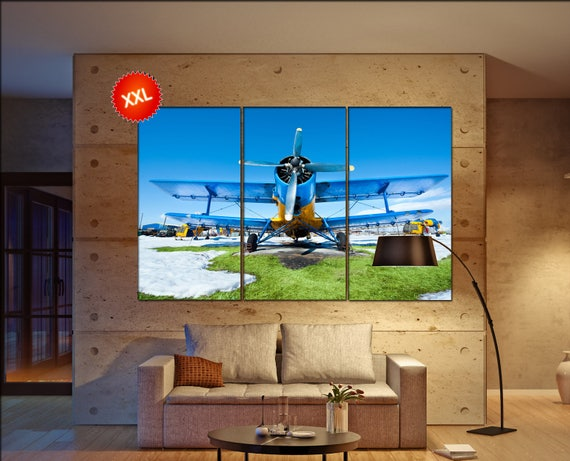 Airplane canvas wall art art  large wall Airplane  canvas wall art print turbine aircraft Office Decor