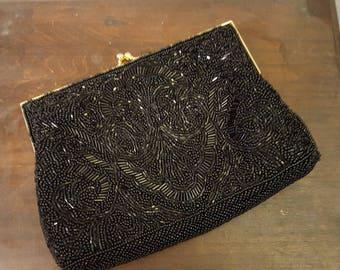 Vintage Black Beaded Evening Bag/1960's Beaded Black Evening Bag
