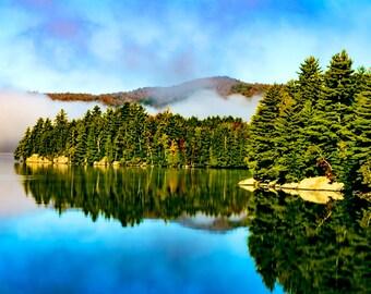 Adirondack Landscape Photography, Adirondack Pond, Adirondack Mountains, Fine Art Print, Foggy Pond, Landscape Print, Adirondack Scenery
