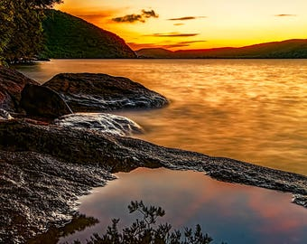 Adirondack Mountains, Lake George Picture, Sky Photography, Sunrise Photograph, Nature Print, Adirondack Decor, Lake George Sunrise