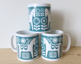 Dala Horse Mug, Horse Mug, Scandinavian Mugs, Swedish Mugs, Horse Coffee Mugs, Scandinavian Kitchenware, Swedish Kitchenware