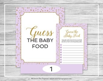 Purple and Gold Baby Shower Guess The Baby Food Game - Printable Baby Shower Guess The Baby Food Game - Purple Confetti Baby Shower - SP148