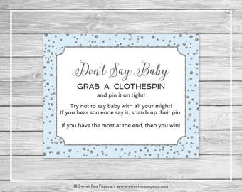 Blue and Silver Baby Shower Don't Say Baby Game - Printable Baby Shower Don't Say Baby Game - Blue and Silver Confetti Baby Shower - SP151