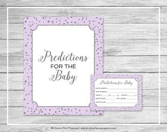 Purple and Silver Baby Shower Predictions for Baby - Printable Baby Shower Predictions for Baby - Purple Silver Confetti Baby Shower - SP153