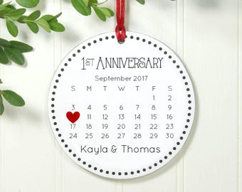 1st Anniversary, 1 Year Anniversary, One Year Anniversary Christmas Ornament 2018, Couples First Xmas 2017, Calendar Ornament, IBO2FS aco1