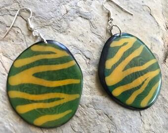Tagua Earrings, Eco friendly earrings, Dangle & Drop Earrings, Eco Earrings, Tagua Jewelry, Valentines Day Gift