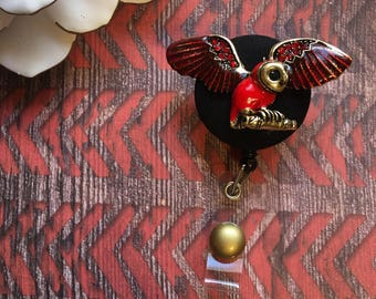 Red owl majesty -Nurse Retractable ID Badge Reel/ RN Badge Holder/Doctor Badge Reel/Nurse Badge Holder/Student Nurse badge reel/ nursing gif