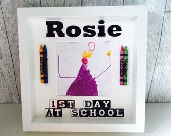 Personalised First Day at School / Nursery Crayon Photo / Picture Box Frame (1st)