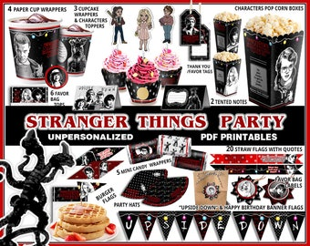 Stranger Things party, Stranger things birthday, party printables, banner, party supplies, cupcake, party favors, Eleven, Eggos, Barb