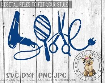 Love Hair, blow dryer, scissors, plug, hairdresser, mirror - SVG/DXF/PNG/Jpg, Cricut, Cameo  Cut File