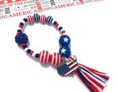 Stars and Stripes USA Charm Bracelet - Memorial Day accessory, flag charm, 4th of july jewelry, patriotic charm bracelet, usa charm,