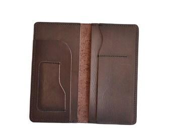 Leather Travel Wallet Women's Long Wallet Leather Checkbook Cash Wallet Handmade Bifold Wallet
