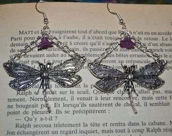 American dragonflies and flowers earrings