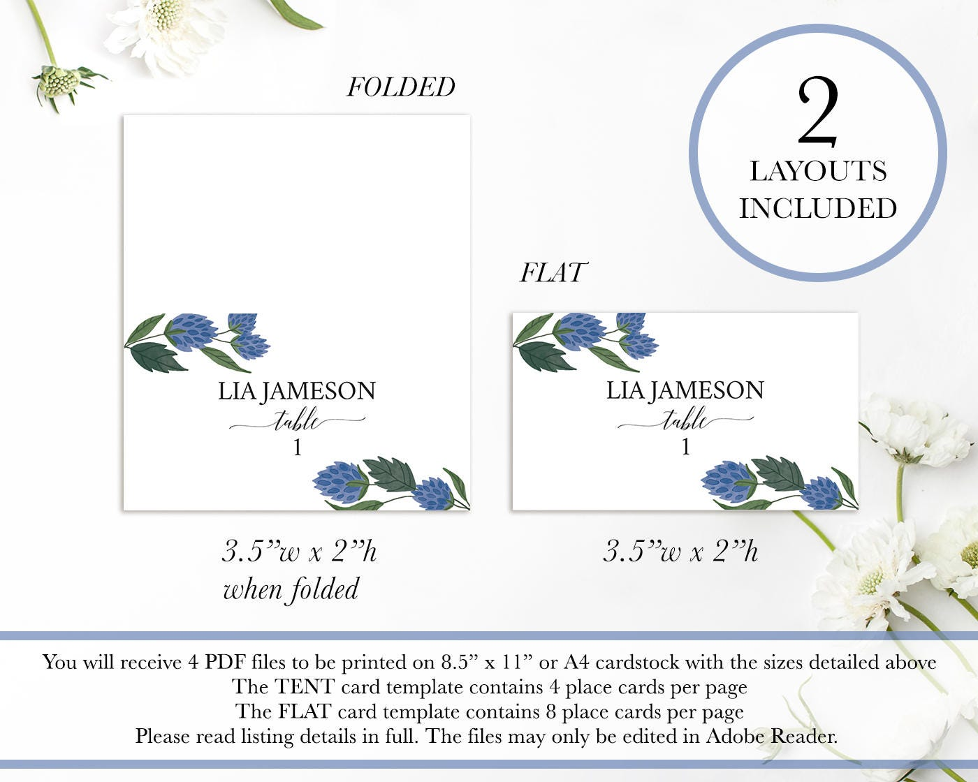 Printable Wedding Place Cards Editable Placecard Template Name card