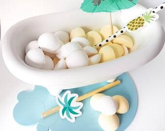 Mini Bath Bombs - Pina Colada Bath Cocktail - Pineapple BathBombs - All Natural Bath Fizzers - Handmade Aromatherapy Gift Set - Mocktails