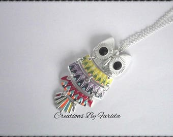Multicolor disjointed silver OWL necklace