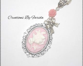 Necklace with rose cameo pendant, with a bow and a tiny Rose pink