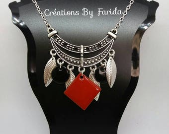 Silver sequins and silver leaves red and black bib necklace