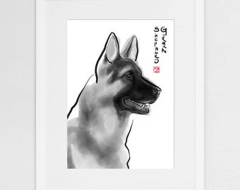 German Shepherd Art Print,International Dog Sumi-e Painting Illustration Loyal Animal Pet Zen Art Cute Ink Drawing Puppy Lover