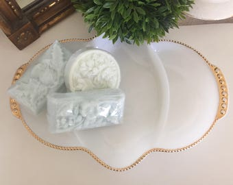 Vintage Anchor Hocking Fire King Milk Glass Gold Trim Tray Dish