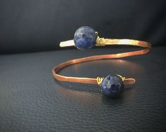 Arm Climber Bracelet, Copper bracelet with Sodalite stone, fits all, healing stone, handmade jewelry,perfect for a great summer fashion