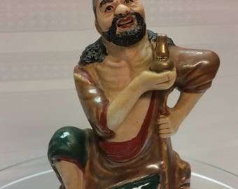 RARE Antique Chinese MUDMAN Male Figurine Beggar Thief Gold Bottle early 1900s Hallmarked Pottery, Shiwan China, Handpainted, TV Movie Prop