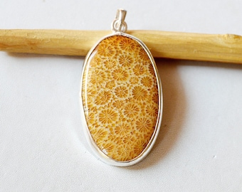 """Fossil Coral Pendant 13.9 Gm Natural Gemstone Silver Pendant Fossil Coral 925 Solid Silver Pendant Oval Shape 2.1""""x1.0"""" Inch RJ140"""