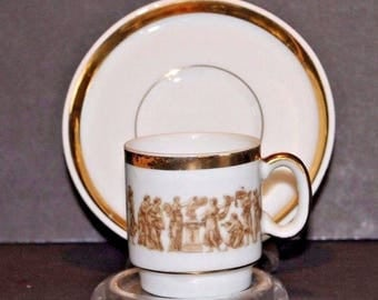 Mid Century Tea Cup and Saucer Demitasse Made in Japan White with Gold