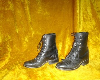 Vintage Navy Blue Leather Punk Rock Boots/ Blue Lace Up Boots/ Laredo Granny Combat Boots Sizes 6.5 or 7