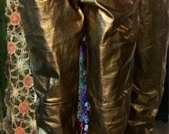 1980' very rare and very gold leather high waisted trouser, pants. Size S.