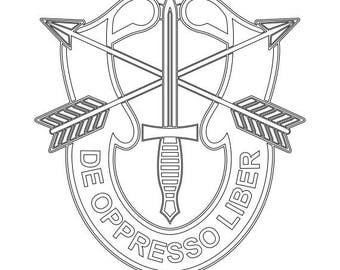 US Army Unit Crest Special Forces Vector Files, dxf eps svg ai crv