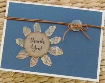 Homemade Thank You Card, Kraft Thank You Note, Rustic Thank You Card, Rustic Kraft Thank You Card, Appreciation, Gratitude, Many Thanks