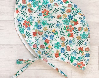 Ready to Ship! Handmade Liberty Print Girls Summer Bonnet in Edenham Age 18-24 Months