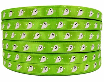 "3/8"" 50yards Halloween Ghost Pattern Printed Apple Green Grosgrains Ribbons"