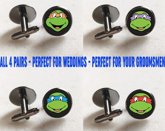 4 Pairs - Ninja Turtle Cufflinks - Perfect for Christmas Gift, Weddings, Office Wear, Banquets, Night Out, Comic Con