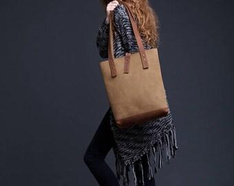 Olive Green Leather Tote Bag / Women Handbag / Genuine Leather Shopper Bag / Leather Handbag / Leather Ladies Shoulder Bag