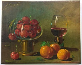 Signed Original Still Life Oil Painting on Canvas Wine Peaches and Cherries