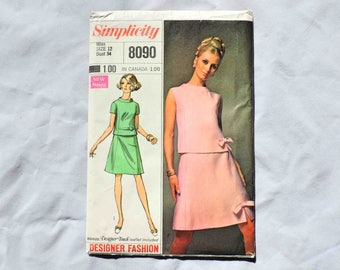 Simplicity 8090 Vintage Designer Sewing Pattern Skirt and Top 1969