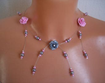 Bridal necklace wedding rose Fimo flower beads pink and gray evening ceremony Christmas