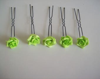 set of 5 peaks hairpins bridal wedding rose flower in lime green polymer clay evening ceremony hairstyle kids parties